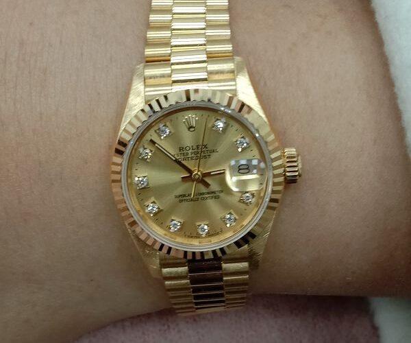流當手錶拍賣 原裝 美品 勞力士 69178 十鑽面 18K金 自動 女錶 9成5新 喜歡價可議 ZR475